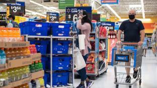 Walmart shopper wearing mask